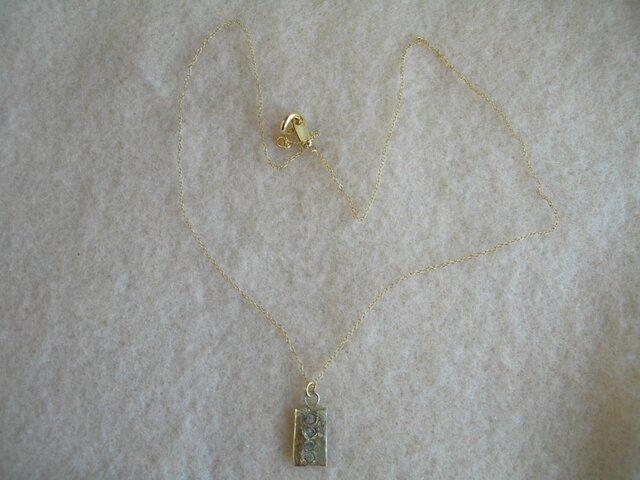 真鍮 長方形彫り留めネックレスの画像1枚目