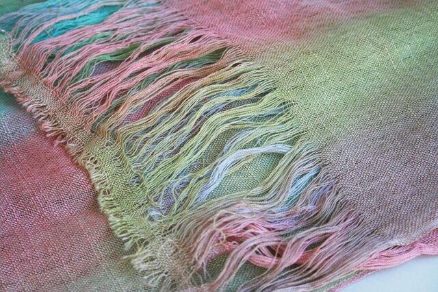 シルク100% 手染めストール rainbow-standard-01の画像1枚目