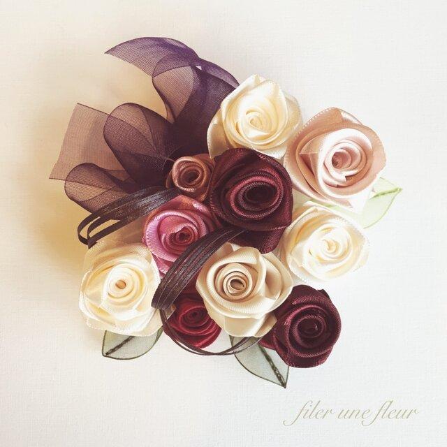 【再販】ribbon flower garnet|06の画像1枚目