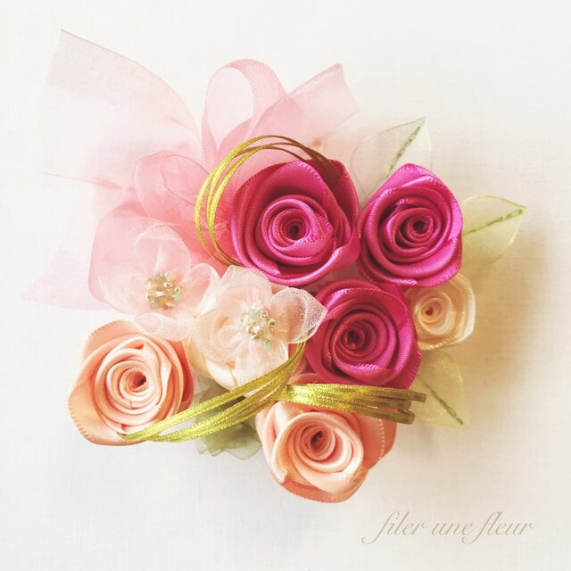ribbon flower rose pink|09の画像1枚目