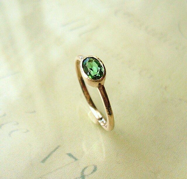 グリーントルマリンとk10の指輪の画像1枚目