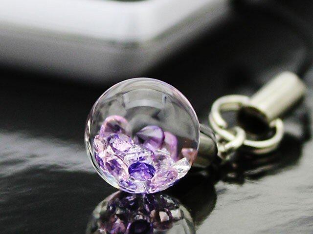 Bijou glass Ball ストラップorイヤホンジャック パープル・ローズピンクの画像1枚目