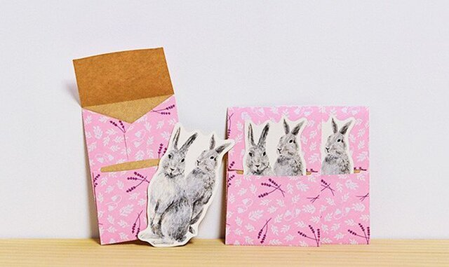 ぽち袋 3個X2セット ぽちウサギの画像1枚目