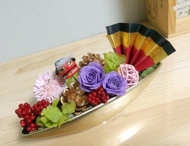 シャンパンゴールドの舟形アレンジ【プリザ+造花】の画像1枚目