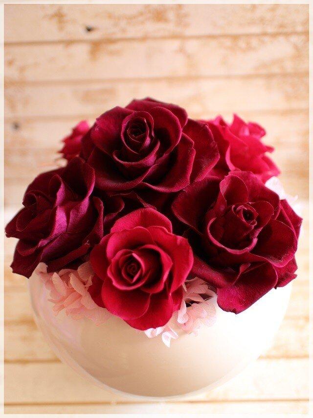 赤ブドウ色のバラと紫陽花のプリザーブドフラワーの画像1枚目