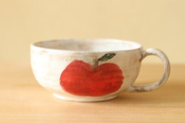 粉引きリンゴのどでかスープカップ。の画像1枚目