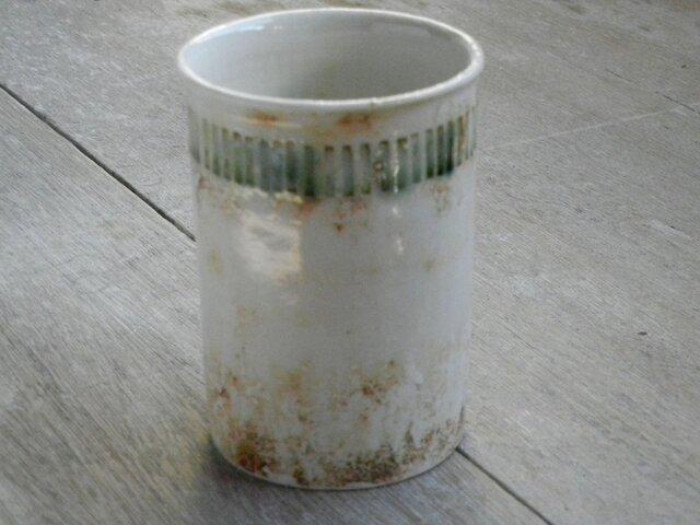 緑釉象嵌 フリーカップの画像1枚目
