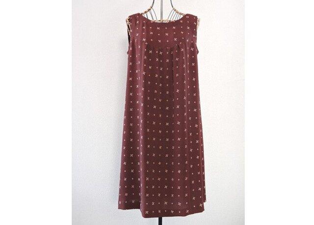着物リメイク:茶色いかざぐるまのワンピースの画像1枚目