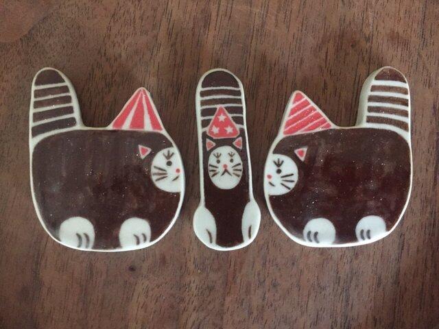パーティお面猫の箸置きセット/068の画像1枚目