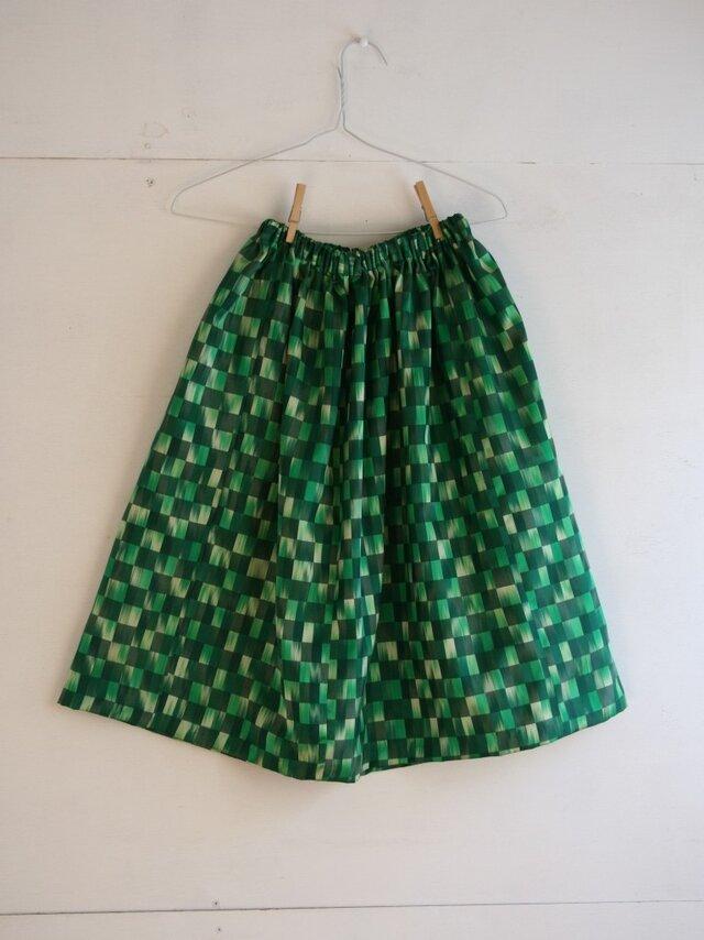 緑市松 ギャザースカート Fサイズ2の画像1枚目