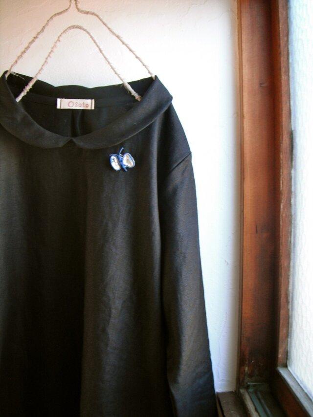 リネン100% 丸襟ワンピース  黒 長袖の画像1枚目