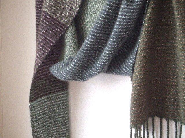 手織りカシミアマフラー・・モリとイズミの画像1枚目