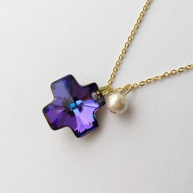 amethyst color cross   necklaceの画像1枚目