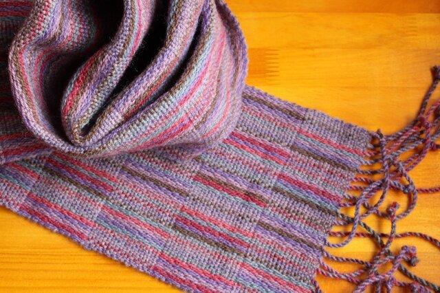 手織のマフラー 中紫(なかむらさき)の画像1枚目