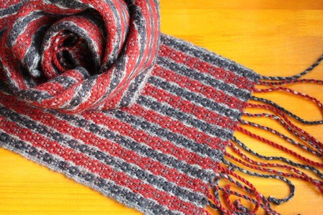 手織のマフラー 錆朱(さびしゅ)の画像1枚目
