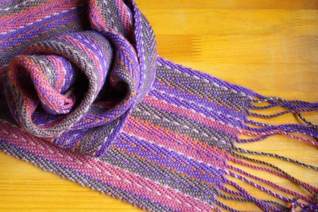 手織のマフラー 菖蒲(しょうぶ)の画像1枚目