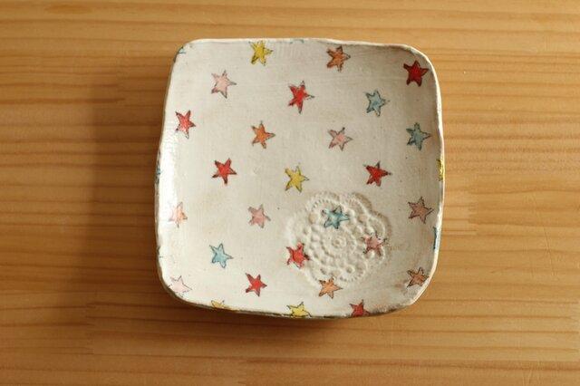 粉引きカラフル星のトースト皿。の画像1枚目