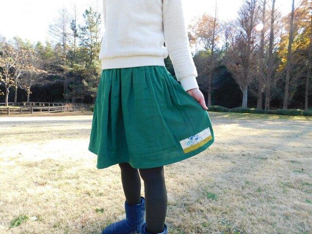 ダブルガーゼ♪グリーン ゴムスカート♪の画像1枚目
