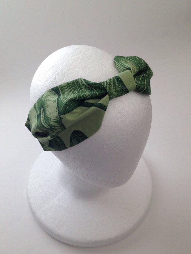 moss greenのハワイアンのリボンターバンの画像1枚目