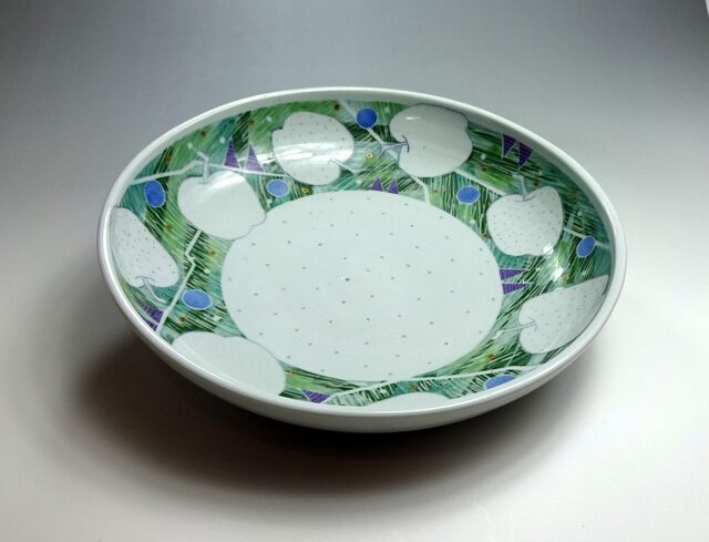 りんご柄大皿グリーンの画像1枚目