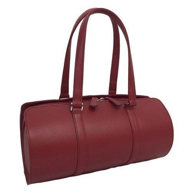 オール牛革 本革バッグ 筒型 ボストンバッグ 軽量 リアル シュリンクレザー レッドの画像1枚目
