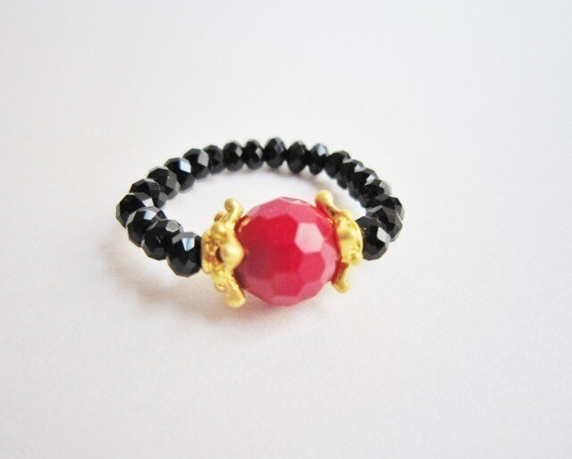 red coral & カットガラス ringの画像1枚目