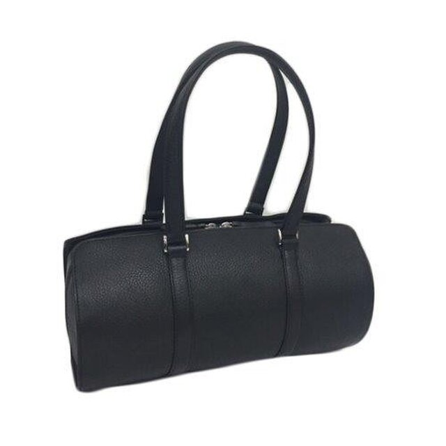オール牛革 本革バッグ 筒型 ボストンバッグ 軽量 リアル シュリンクレザー ブラックの画像1枚目