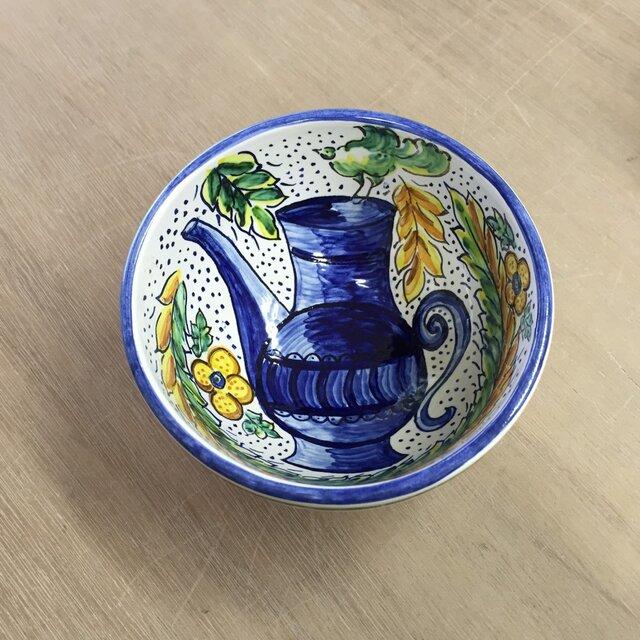 再販しました!マジョリカ碗 鳥と壺の画像1枚目