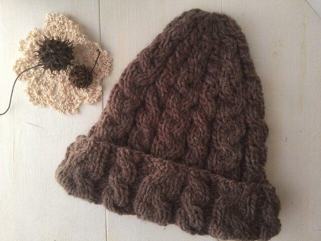 イタリア製毛糸のアラン帽子の画像1枚目