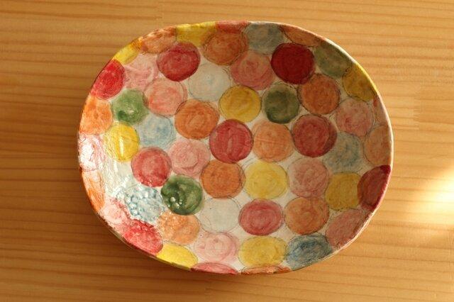 粉引きカラフルドットオーバルパスタ皿。の画像1枚目