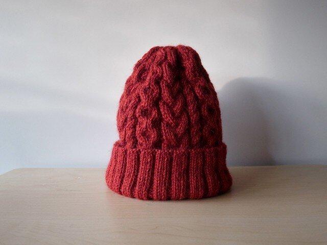 アランニット帽・レッド●受注生産●の画像1枚目