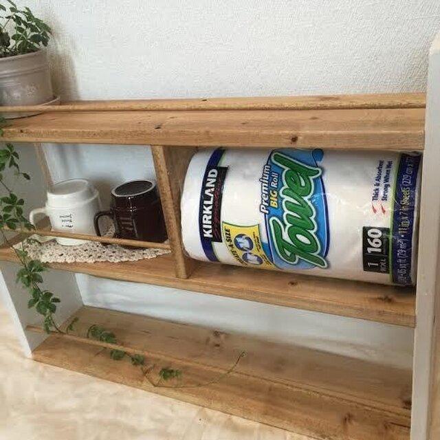 横型 コストコsize キッチンペーパーラック  白×茶の画像1枚目