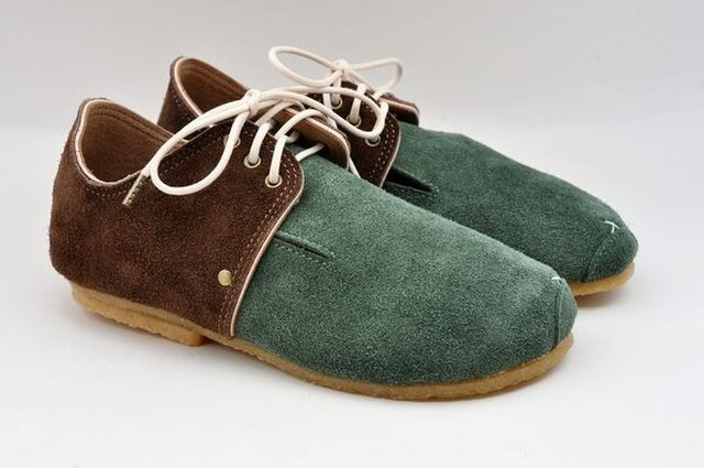 『plie lace-shoes』green x dark-brown suede leatherの画像1枚目