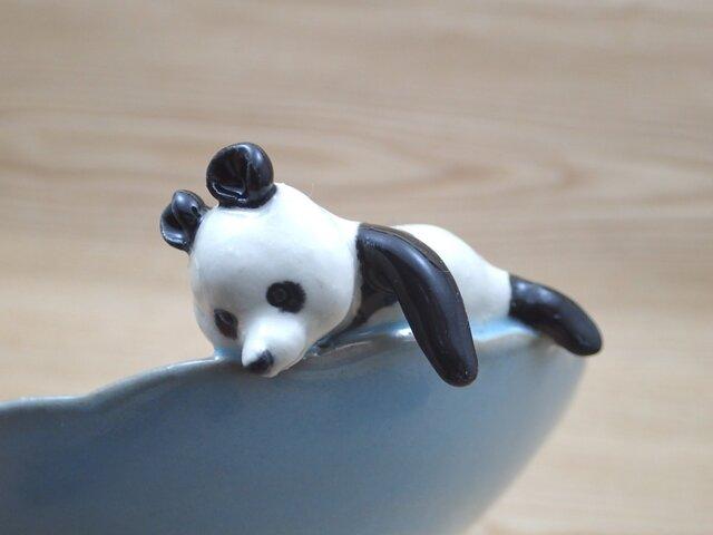 かえるこ様ご検討品ー水青爆睡大熊猫輪花小皿の画像1枚目