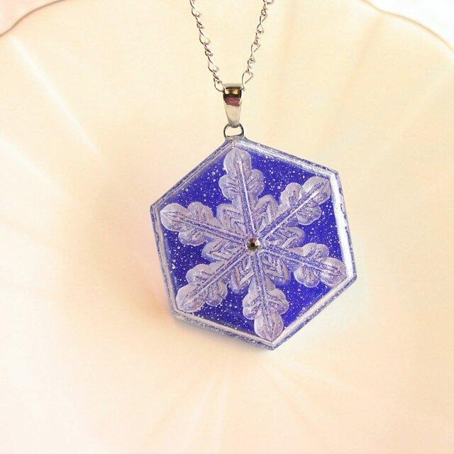 雪の結晶ネックレス①(ロイヤルブルー)の画像1枚目