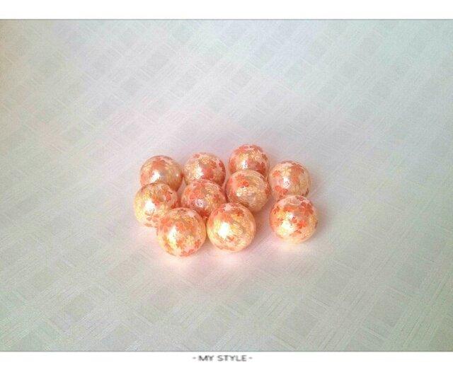 桜柄プリントパールビーズ 12mm 10個の画像1枚目