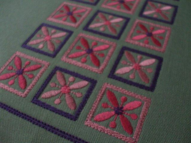 四角刺繍の新書ブックカバー◆セミオーダー◆ 綿ツイル グリーンの画像1枚目
