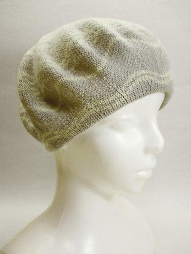 Sサイズ・ベレー帽(グレー・フラワーなライン)の画像1枚目