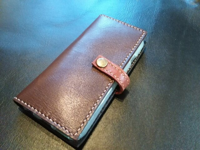 iphone 6 専用レザーケース(牛革・茶色)の画像1枚目