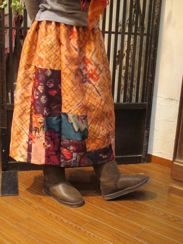 春遠からじのバルーンスカート☆オレンジ系銘仙でリバーシブル♪の画像1枚目