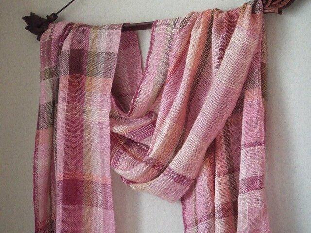 手織りシルクストール・・さくらばなの画像1枚目