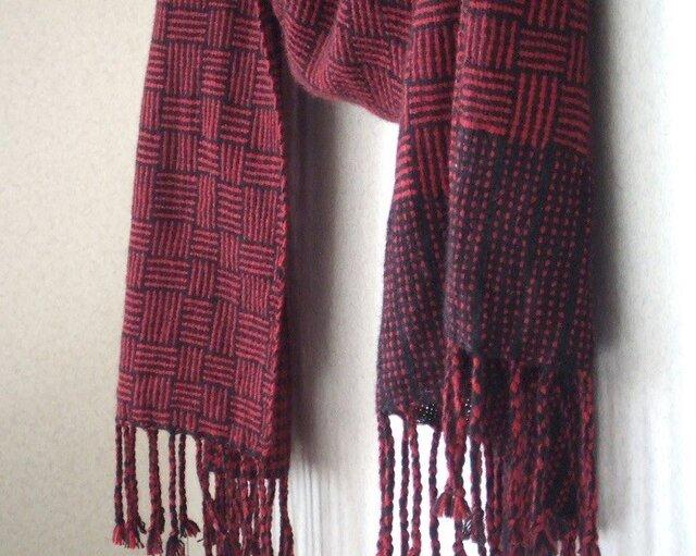 手織りカシミアストール・・バーブシュカ(真紅)の画像1枚目