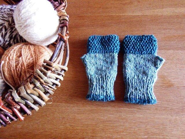 羊毛100% アイルランドの指なし手袋 / Aqua(アクア)の画像1枚目