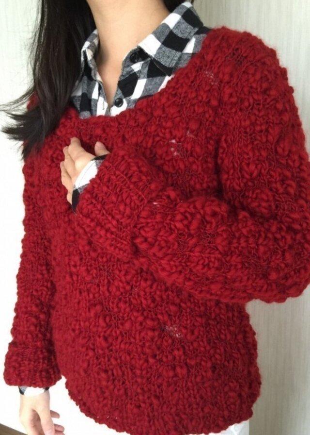 綺麗な真っ赤なスラブ糸‼️セーターの画像1枚目