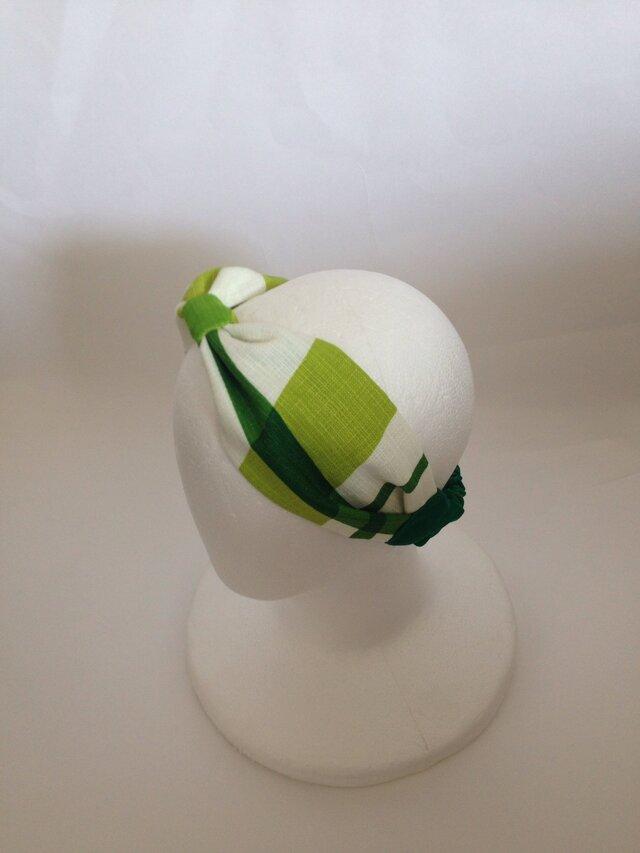 greenチェック柄リボンターバンの画像1枚目