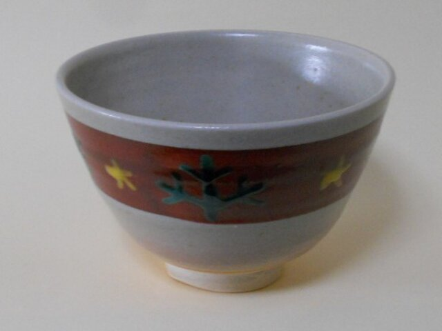 萩釉色絵茶碗の画像1枚目