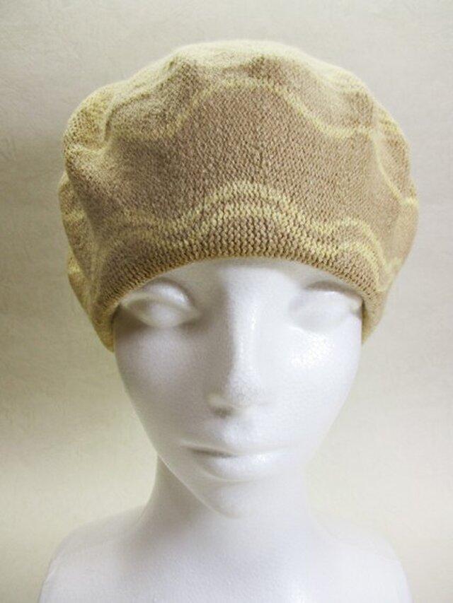 Sサイズ・ベレー帽(ベージュ色・フラワーなライン)の画像1枚目
