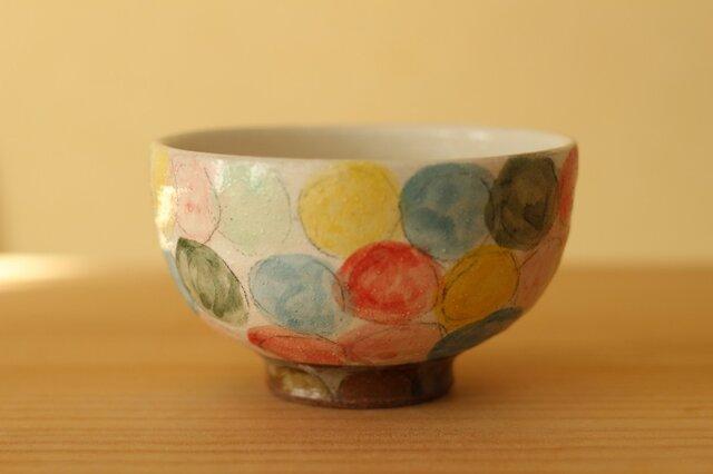 粉引きカラフルドットのご飯茶碗。の画像1枚目