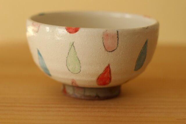 粉引きカラフルドロップのご飯茶碗。の画像1枚目