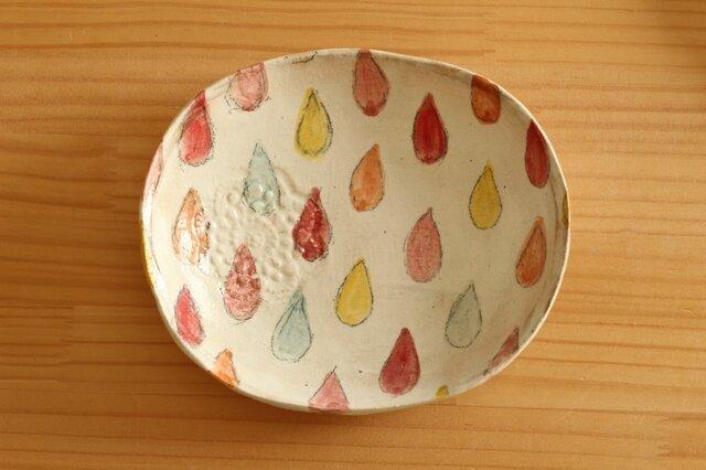 粉引きカラフルドロップのオーバル皿。の画像1枚目